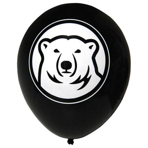 Black balloon with polar bear mascot imprint.