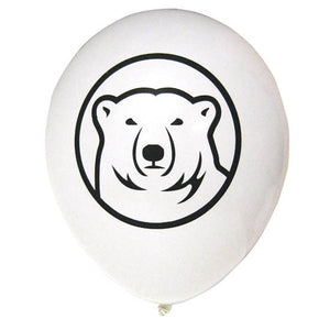 White balloon with polar bear mascot medallion.