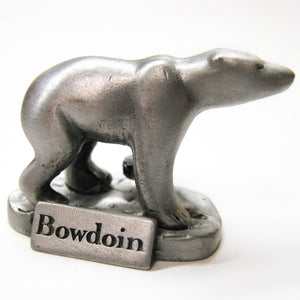 Small pewter polar bear figurine with BOWDOIN wordmark plaque at its feet.