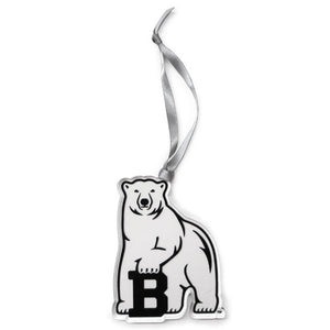 Clear plastic polar bear mascot ornament with silver ribbon hanger.
