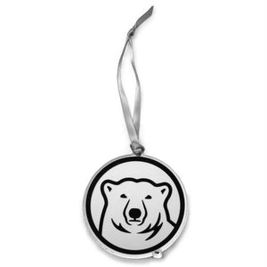 Clear plastic mascot medallion ornament with silver ribbon hanger.