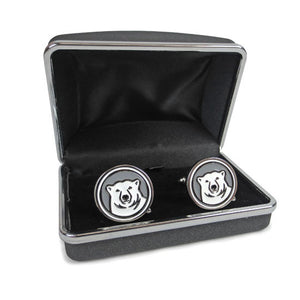 bowdoin polar bear cufflinks in box