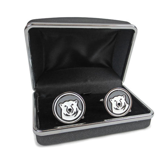 Bowdoin Polar Bear Medallion Enamel Cufflinks