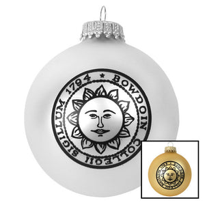 Montage of two Bowdoin seal glass ball ornaments.