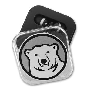 Earbuds in Bowdoin Polar Bear Case