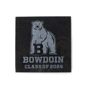 Black granite etched coaster with engraved Bowdoin polar bear mascot over BOWDOIN over CLASS OF 2024.