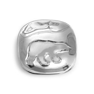 Bright polished aluminum square-ish plate with engraved Polar Bear silhouette.