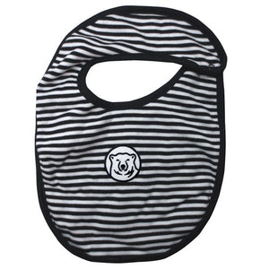 Bib with narrow black and white horizontal stripes and black trim. Embroidered mascot medallion patch in center of front.