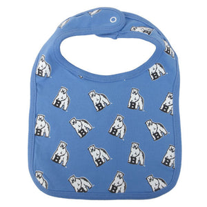 Light blue bib with all-over polar bear mascot print.