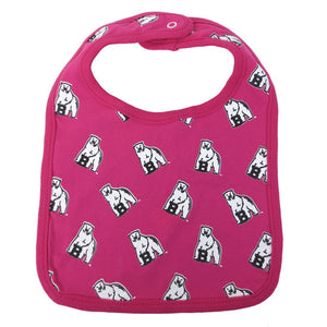 Fuchsia pink bib with all-over polar bear mascot print.