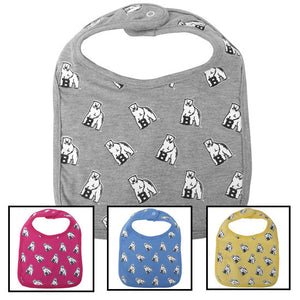 Montage of different colors of bib with all-over mascot print.