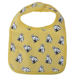 Butter yellow bib with all-over polar bear mascot print.