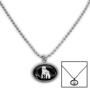 Two available colors of Bowdoin mascot pendant necklace.