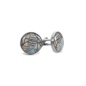 Metal cufflinks with round cabochon insets of a map of the Maine coast showing Bowdoin College, Brunswick, Topsham, and other landmark features.
