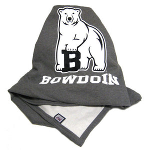 Heathered charcoal gray fleece blanket with polar bear mascot over white BOWDOIN imprint.