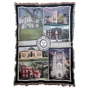 Woven blanket with full color montage of Bowdoin buildings. BOWDOIN COLLEGE woven across the middle horizontally, interrupted by the sun seal.