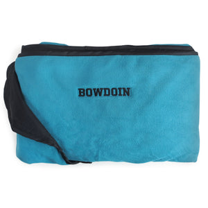 Teal blue fleece blanket with black nylon trim and backing. Black BOWDOIN embroidery on blanket, aligned horizontally about 2.5 inches from edge.