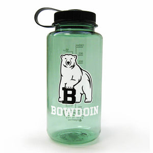 Sage green wide-mouth water bottle with black lid, imprinted with Bowdoin polar bear mascot over the word BOWDOIN in white.