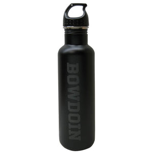Matte black narrow mouth water bottle with black plastic loop-top lid and black BOWDOIN .