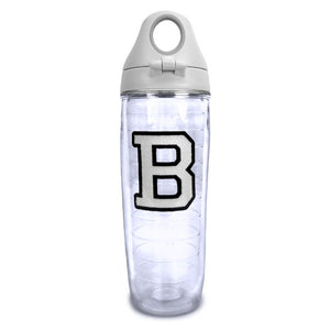 Clear double-wall tumbler with grey screw-on snap-lock lid and embroidered white B patch with black outline.