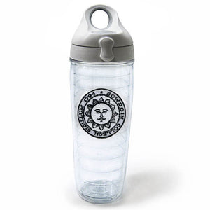 Clear double-wall tumbler with grey screw-on snap-lock lid and embroidered Bowdoin sun seal patch.