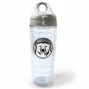 Clear double-wall tumbler with grey screw-on snap-lock lid and embroidered mascot medallion patch.