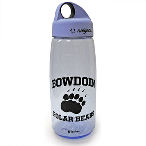 Tuxedo blue loop top Nalgene water bottle with black imprint of BOWDOIN arched over paw print over POLAR BEARS.