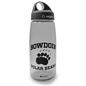 Smoke grey loop top Nalgene water bottle with black imprint of BOWDOIN arched over paw print over POLAR BEARS.