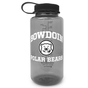 Smoke widemouth Nalgene water bottle with black lid and white arched BOWDOIN over mascot medallion over POLAR BEARS imprint.