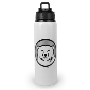 Front of white water bottle with black lid and Bowdoin mascot medallion imprint.