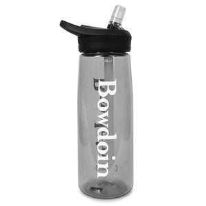 Charcoal gray Camelbak Eddy water bottle with black lid and clear bite valve. The BOWDOIN wordmark is imprinted in white down both sides.