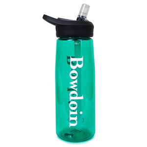 Vivid Spectra green Camelbak Eddy water bottle with black lid and clear bite valve. The BOWDOIN wordmark is imprinted in white down both sides.
