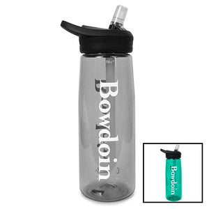 Montage of two Camelbak Eddy water bottles with Bowdoin imprint. One is Charcoal and one is Spectra green.