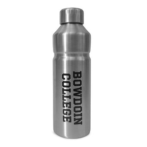 Stainless steel water bottle with black BOWDOIN COLLEGE imprint running vertically down the side.