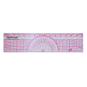 Clear ruler with pink protractor markings.