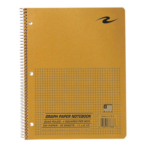 Spiral bound quad-ruled notebook with brown craft cover