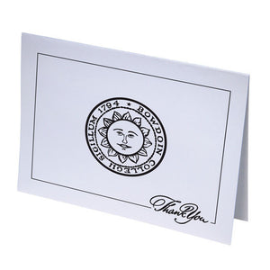 White notecard with horizontal layout. Black imprint of Bowdoin sun seal and border interrupted by THANK YOU in fancy script in the lower right corner.