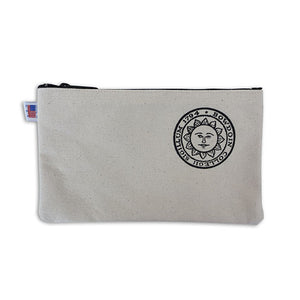 Canvas pencil case with black zippered top and Bowdoin sun seal on right side.