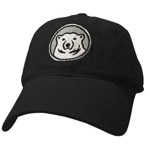 Youth black hat with embroidered Bowdoin mascot medallion on front.