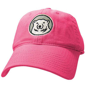 Youth hot pink hat with embroidered Bowdoin mascot medallion on front.