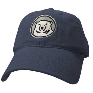 Youth navy blue hat with embroidered Bowdoin mascot medallion on front.