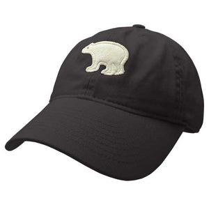 Youth black hat with embroidered white felt polar bear on the front.