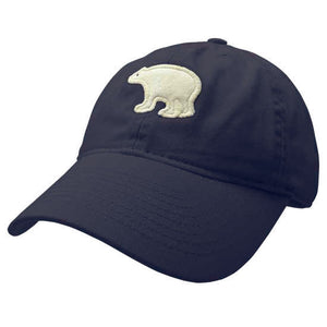 Youth navy blue hat with embroidered white felt polar bear on the front.