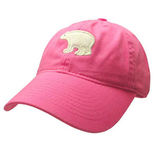 Youth hot pink hat with embroidered white felt polar bear on the front.