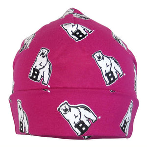 Fuchsia pink infant warming cap with turned-up cuff and all-over polar bear mascot print.