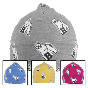 Montage of baby hats with all-over mascot print.