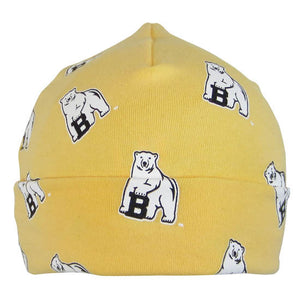 Butter yellow infant warming cap with turned-up cuff and all-over polar bear mascot print.