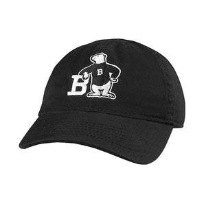 Black twill hat with Spirit Bear embroidery: A polar bear wearing a black sweater with a white B on it, leaning with one elbow on the letter B and its other hand on its hip.