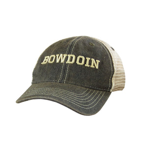Toddler's trucker hat with faded black twill front and mesh back. BOWDOIN embroidery on front in antique ivory thread.