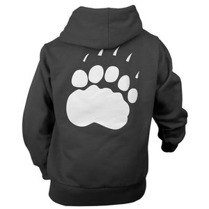 Back view of children's black hood showing large white paw print on back.